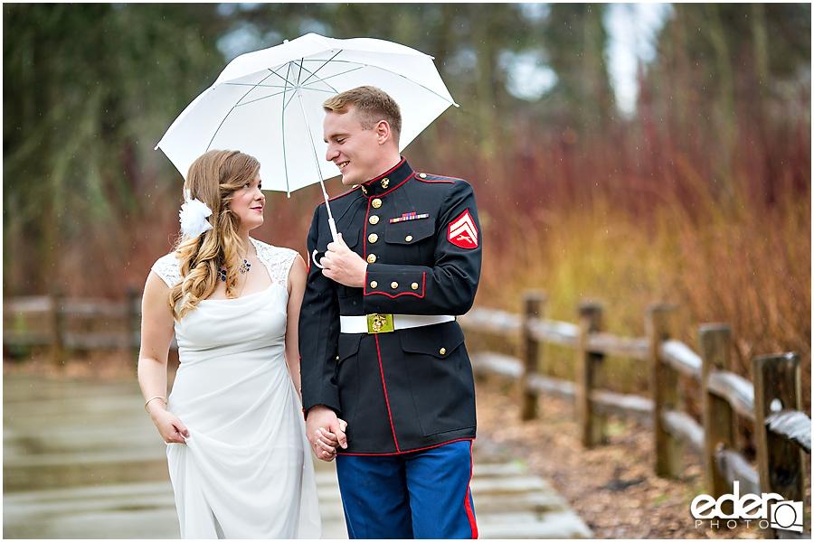 Destination wedding couple portraits in the rain