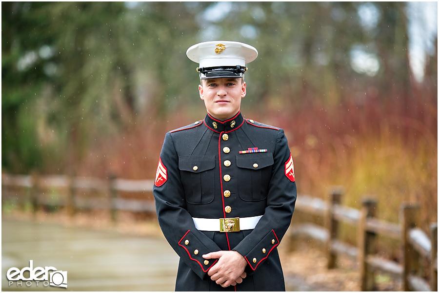 Military wedding portraits of groom