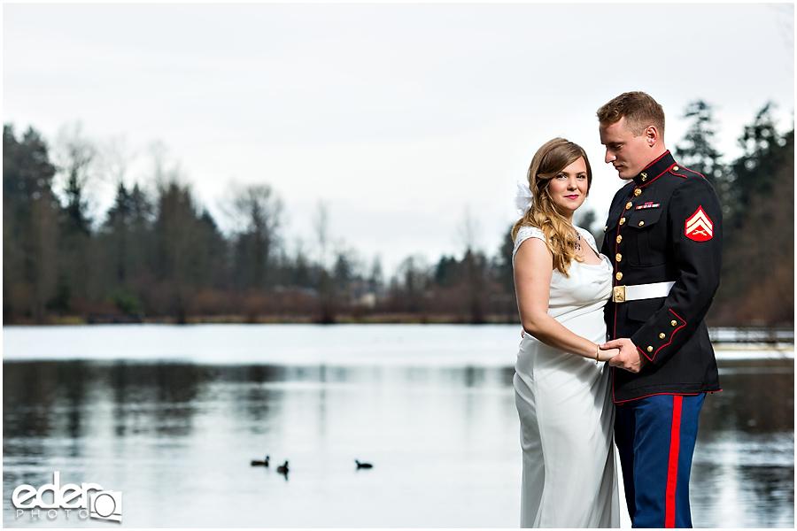 Destination wedding portraits by a lake