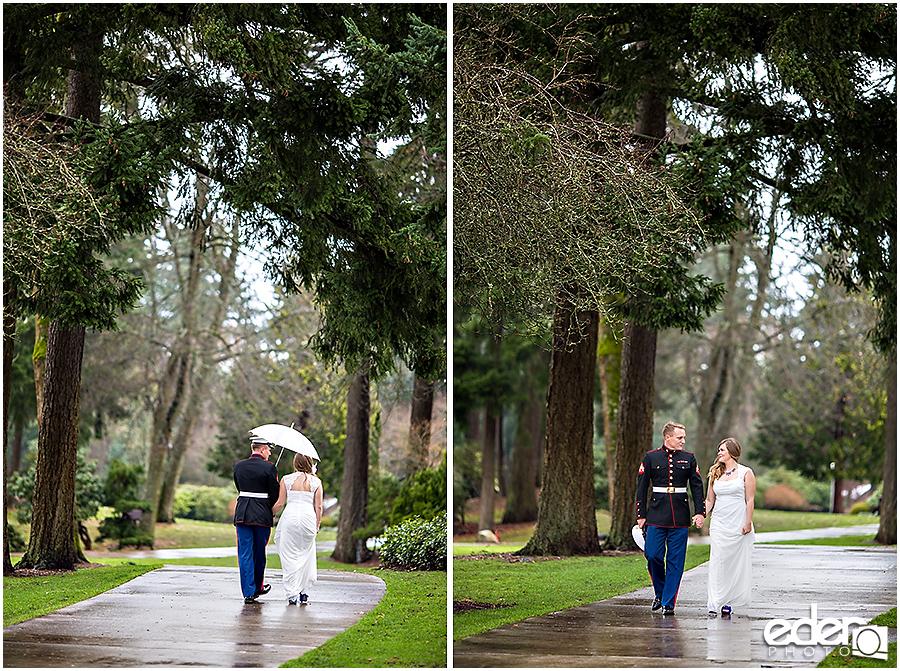 Destination wedding photos of couple walking in the rain