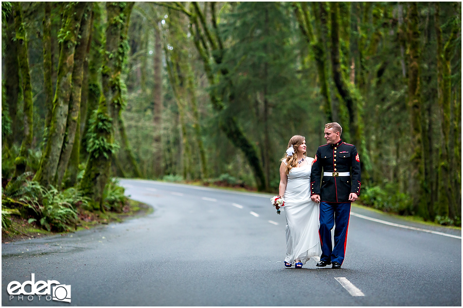 Military couple walking down the road