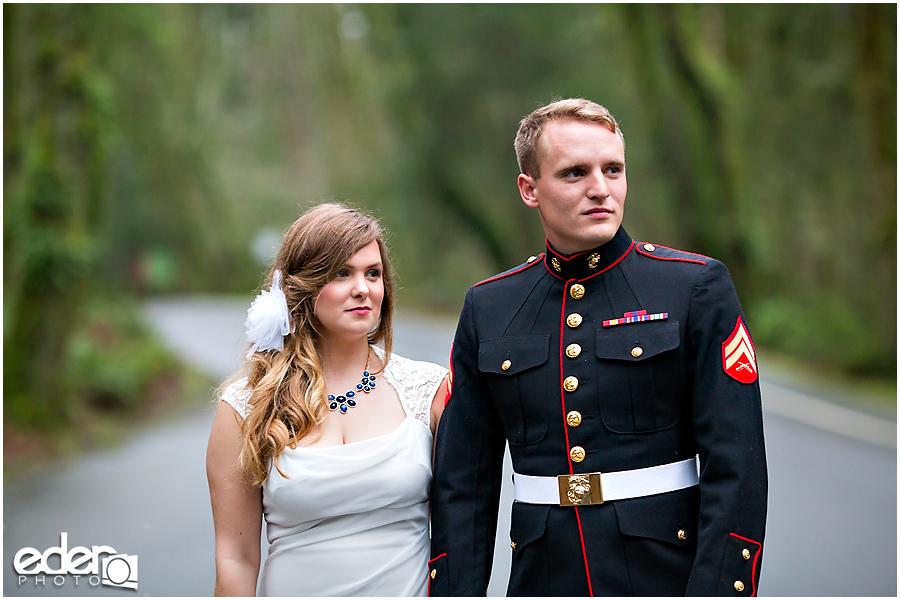 Military couple at destination wedding
