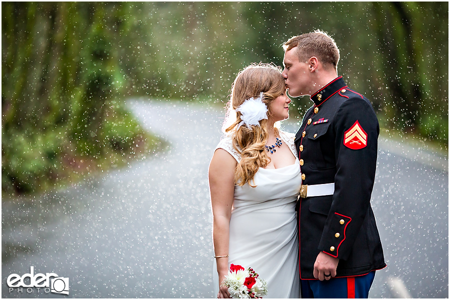 Destination wedding photography couple portraits in the rain