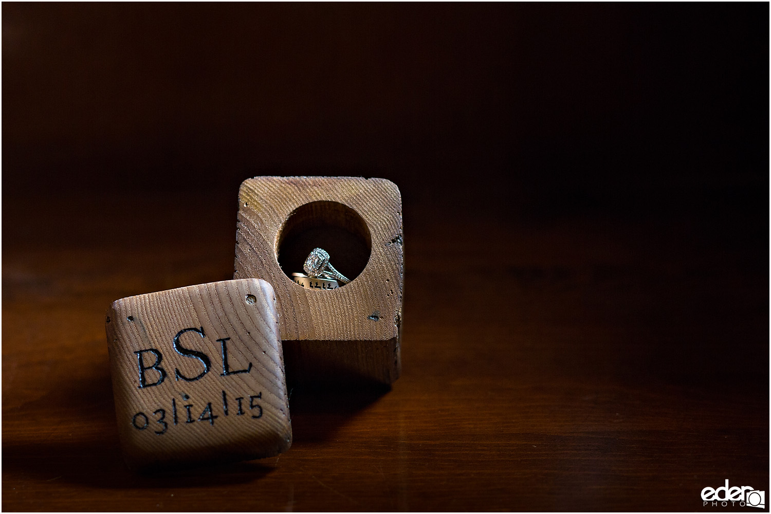 Heritage Park wedding details - monogram ring box
