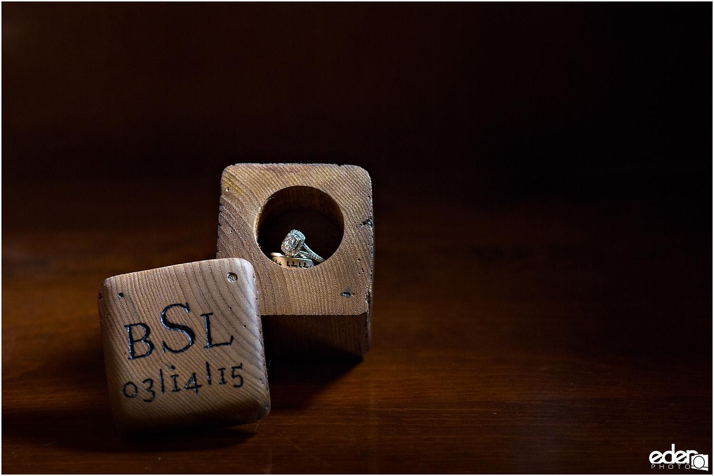 Heritage Park wedding details - monogram ring box