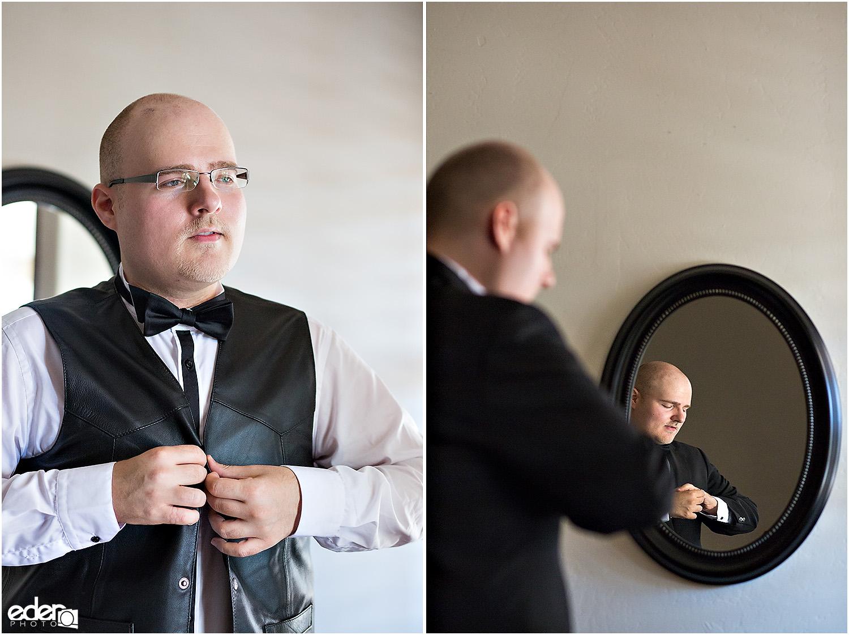 Heritage Park wedding prep - groom