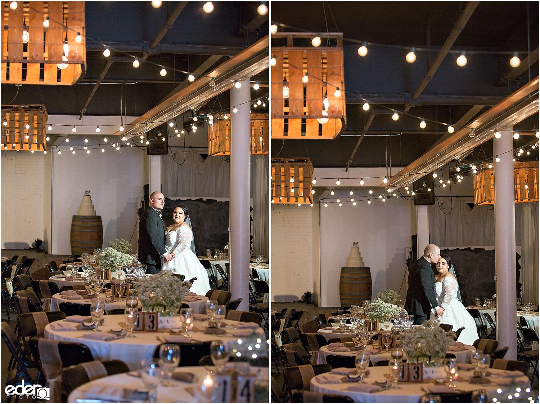 Moniker Warehouse Reception Bride and Groom