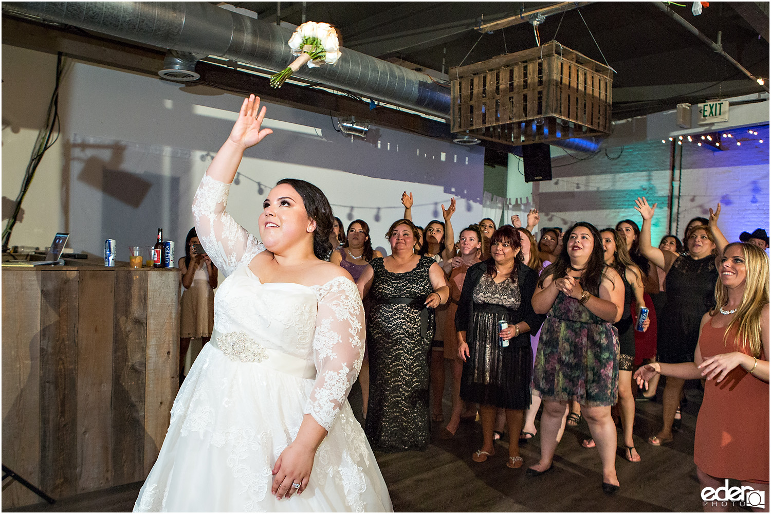 Moniker Warehouse Wedding Bouquet toss