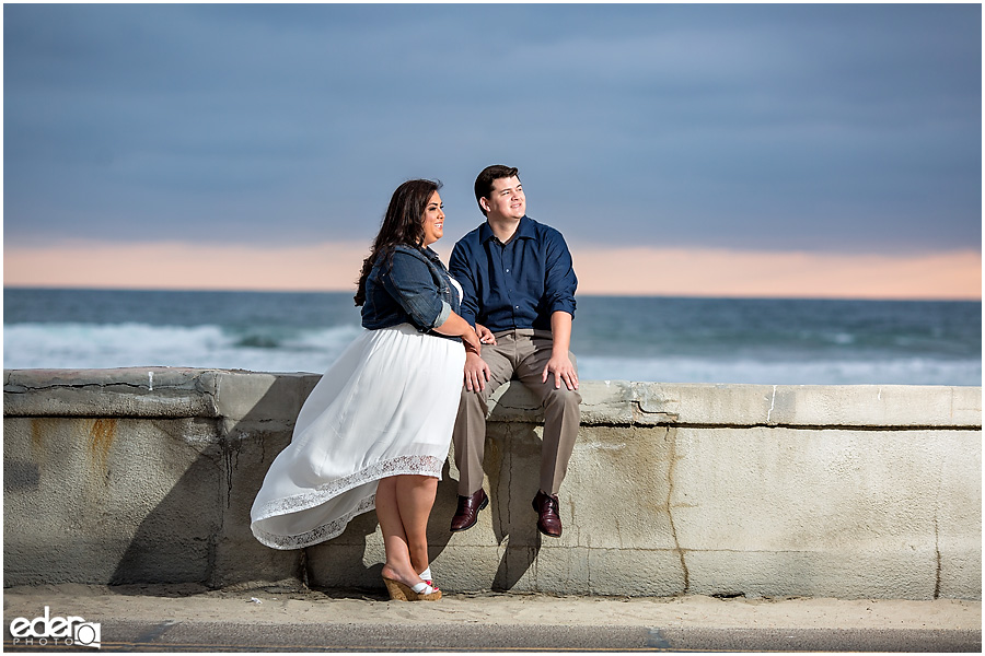 Mission Beach Engagement Session on the boardwalk