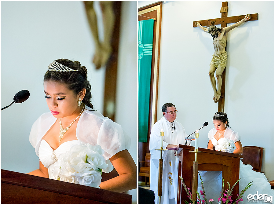 Quinceañera Photography - reading during ceremony