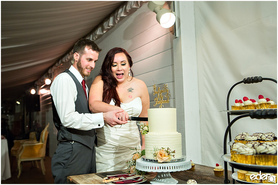 Green Gables Wedding Reception cake cutting