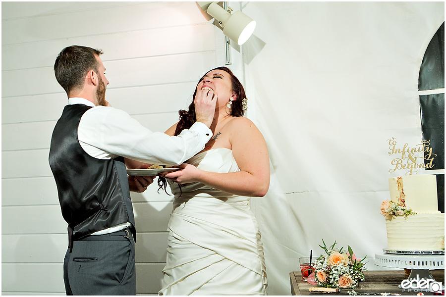 Green Gables Wedding Reception cake cutting