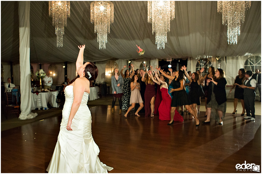 Green Gables Wedding Reception bouquet toss