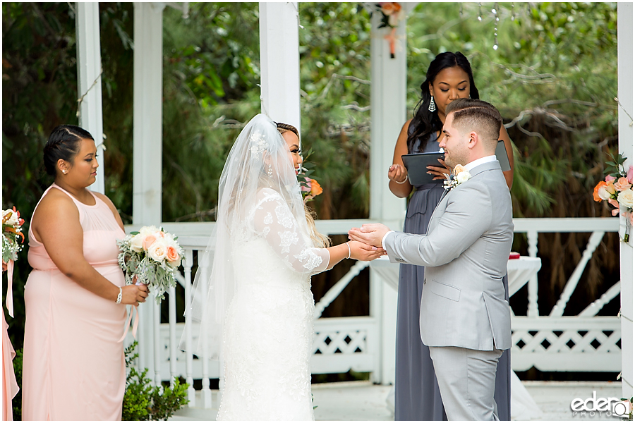 Ring exchange at Green Gables Wedding Estate