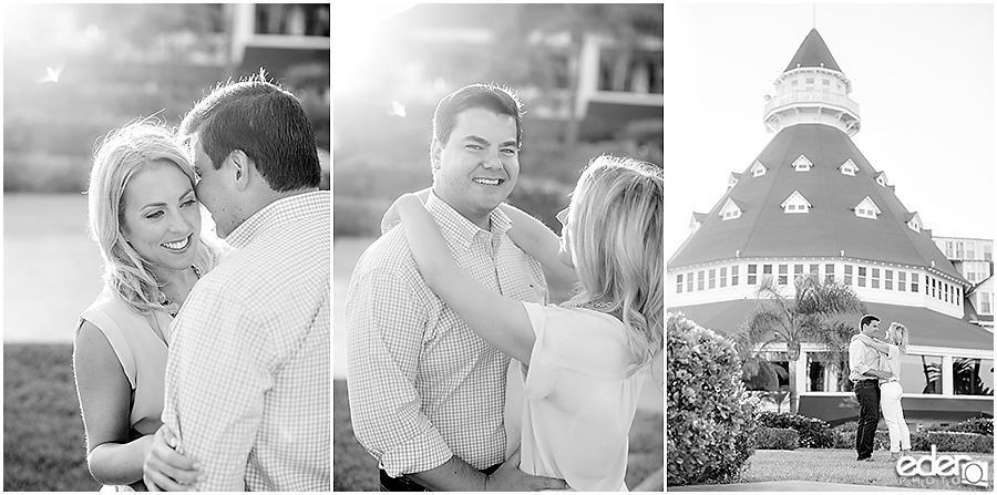 Black and white engagement session photos in Coronado, CA.