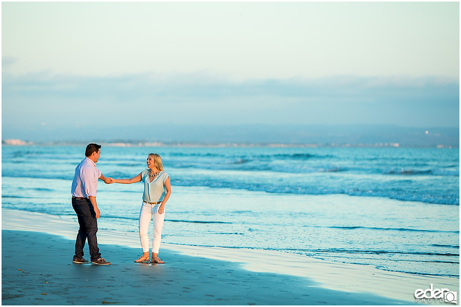 Sunset engagement photos on beach in Coronado, CA