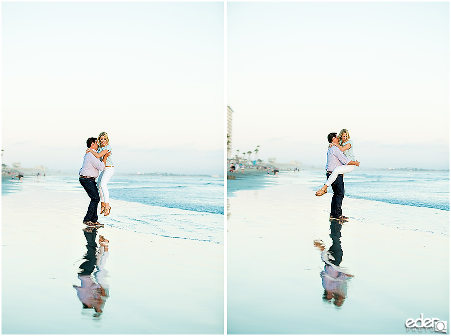 Engagement Session on the beach with water reflection.