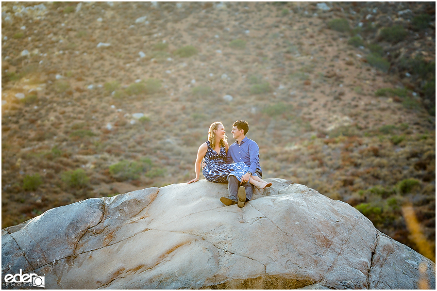 Mission Trails Engagement Session photo on top of a big rock.