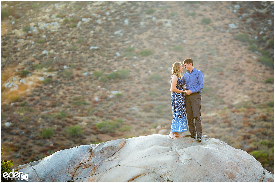 Mission Trails Engagement Session on top of a big rock.