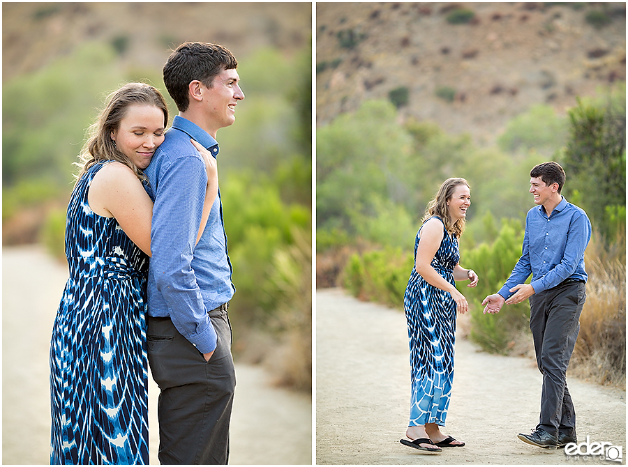 Walking down a trail during an engagement session in Mission Trails Regional Park.