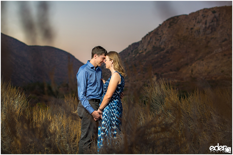 Sunset engagement photos at Mission Trails Regional Park in San Diego California.