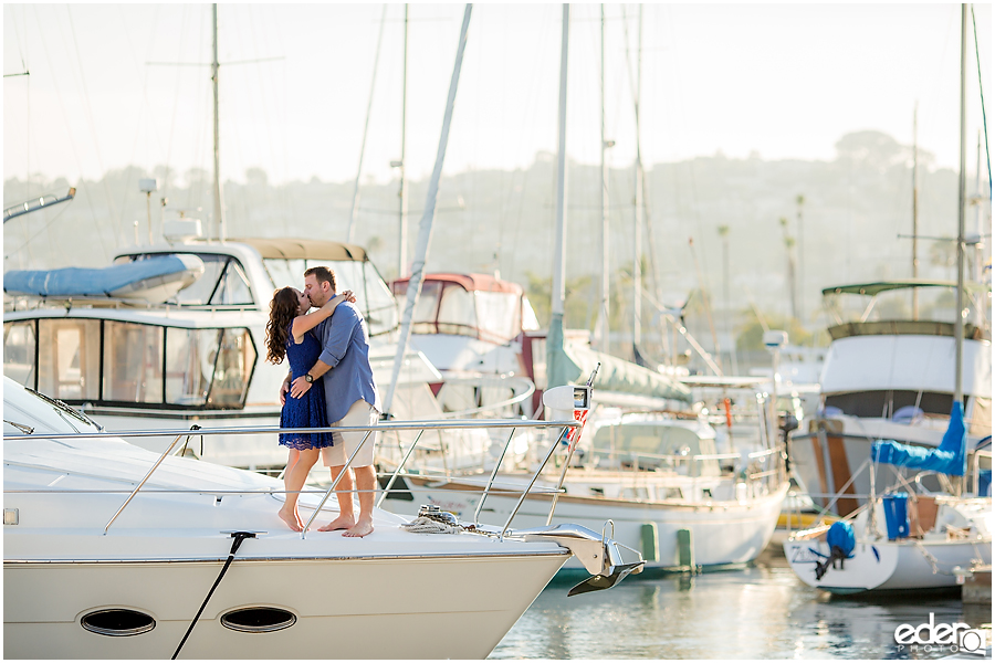 Point Loma Engagement Session on a boat