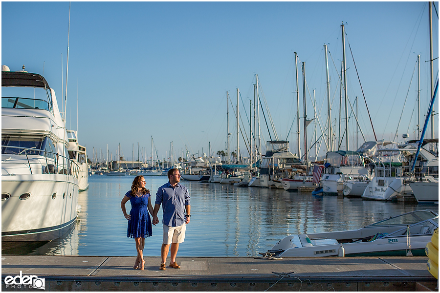 Standing on the dock for an engagement session in San Diego.