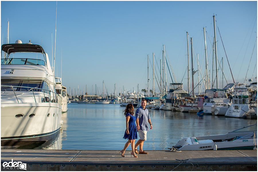 Walking on the dock for an engagement session in Point Loma.