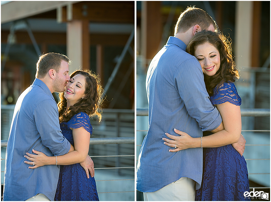 Hugs and kisses during engagement session.