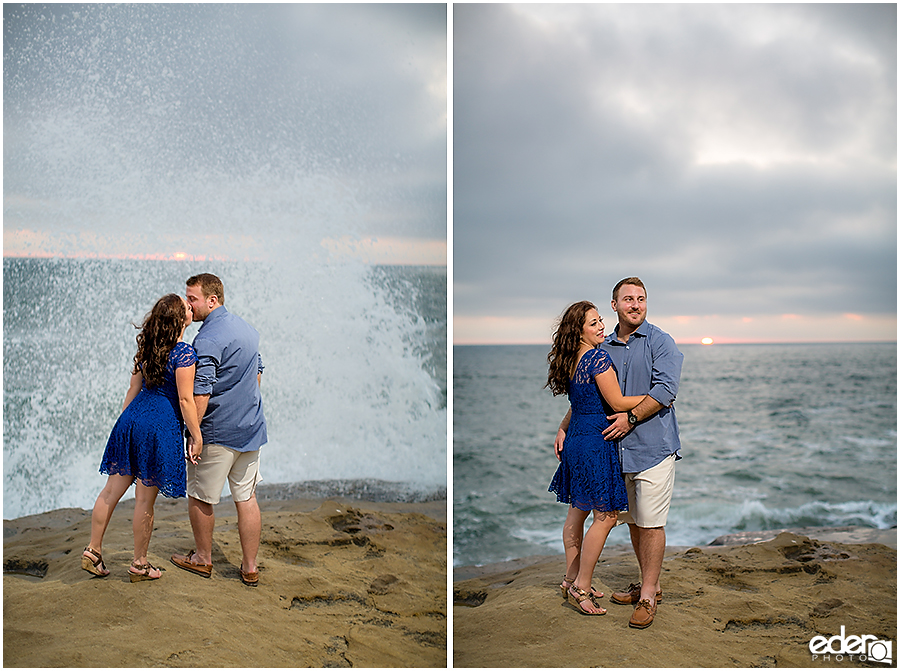 Waves splashing during a San Diego engagement session.