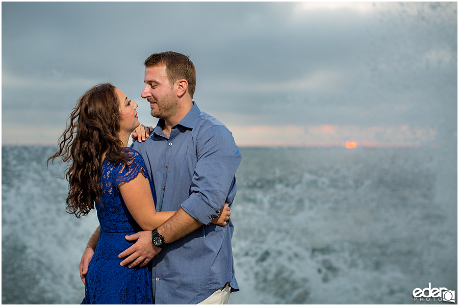 Waves splashing during an engagement session in Point Loma.