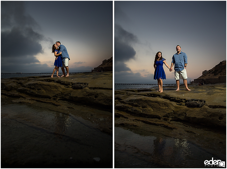 Reflection in water during San Diego Sunset Cliffs engagement session.