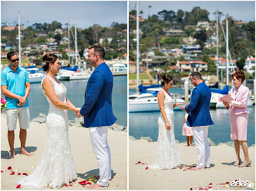Marina backdrop for beach elopement at the Kona Kai Resort in San Diego, CA.
