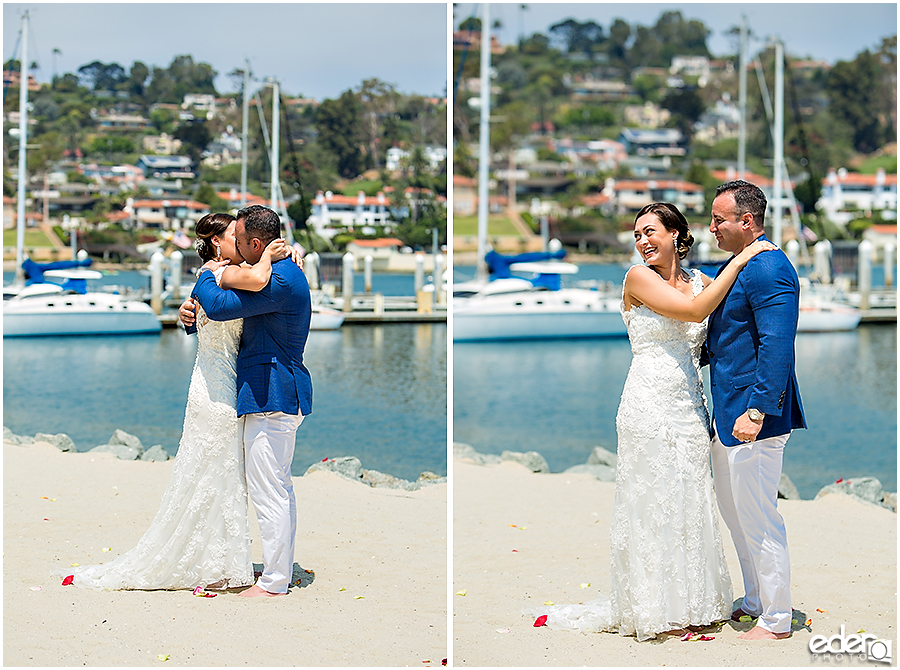First kiss during elopement in San Diego.