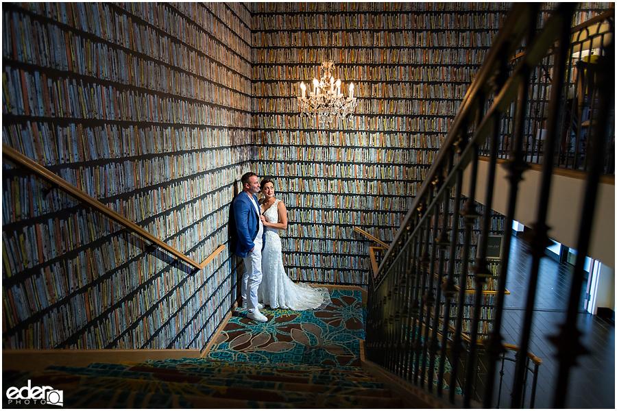 Bride and groom photographed at Kona Kai Resort.