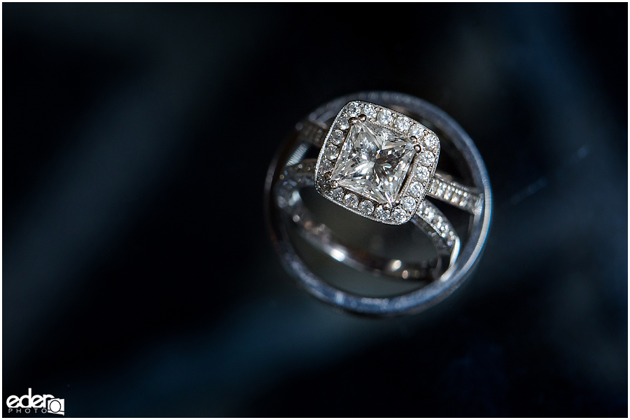 Wedding ring close up photo for San Diego elopement.