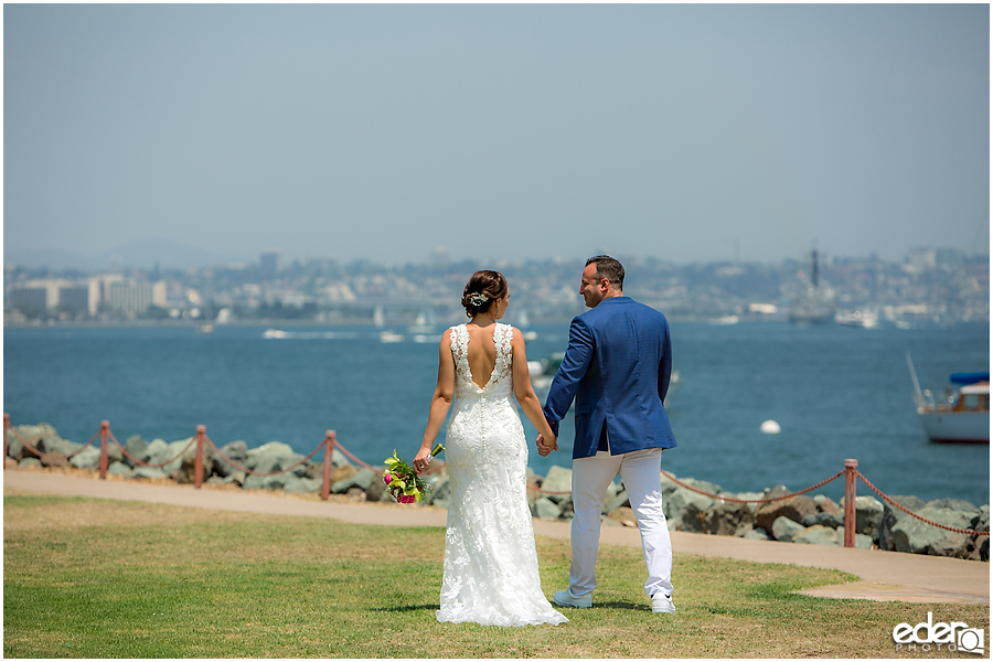 Bride and groom San Diego harbor photos.