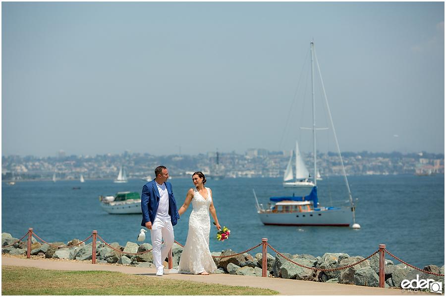Bride and groom San Diego harbor elopement photos.