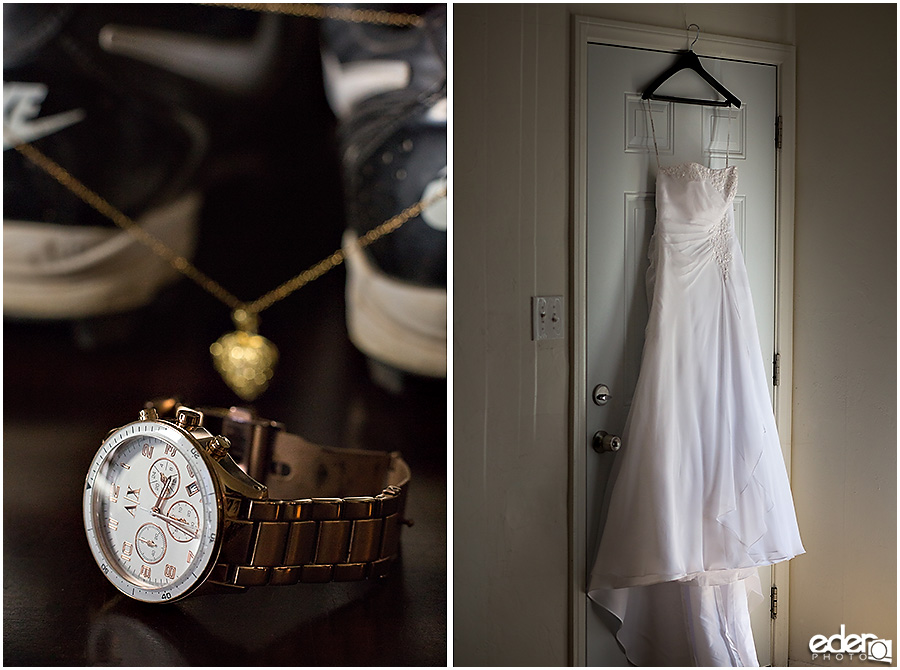 Wedding dress and jewelry for baseball themed wedding.