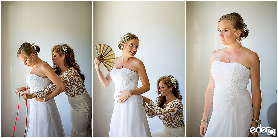 Bride getting ready for baseball themed wedding.