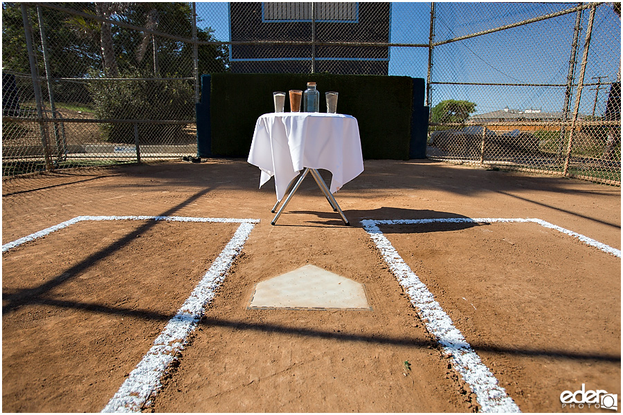 Decor for baseball themed wedding ceremony.