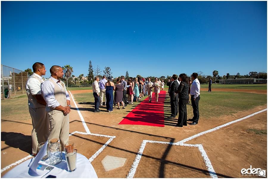 Baseball themed wedding ceremony.