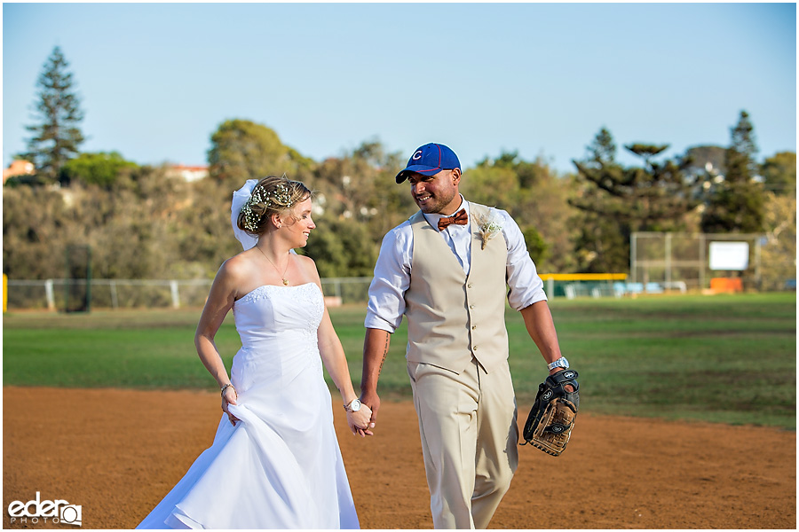 Bride and groom photos after baseball themed wedding ceremony.