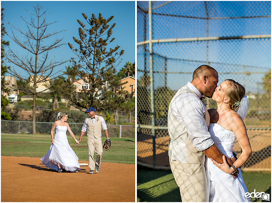 Bride and groom kissing after baseball themed wedding ceremony.