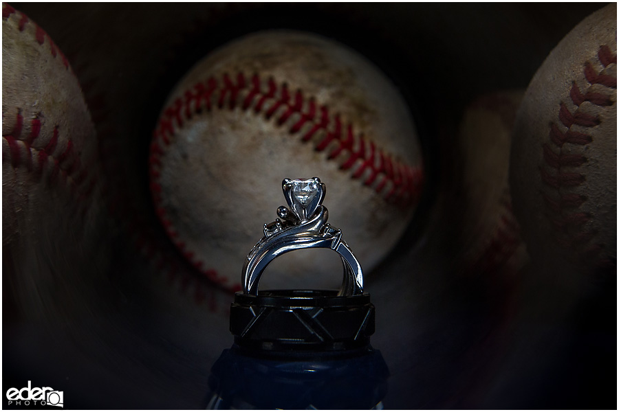 Wedding ring photo with baseball.