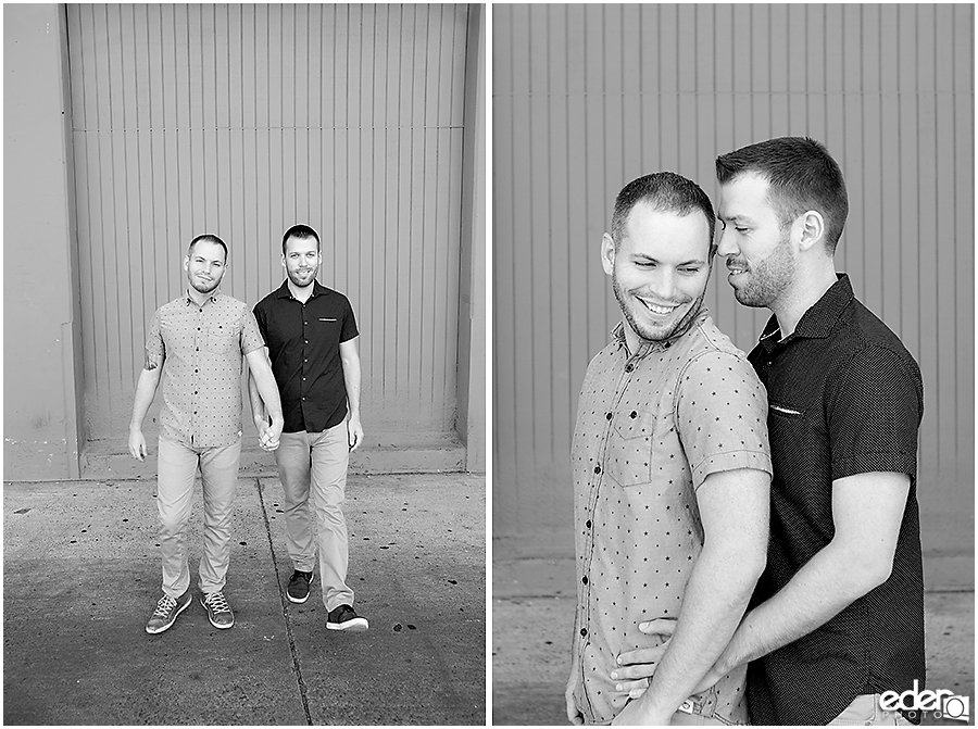 Black and white same sex engagement photos.