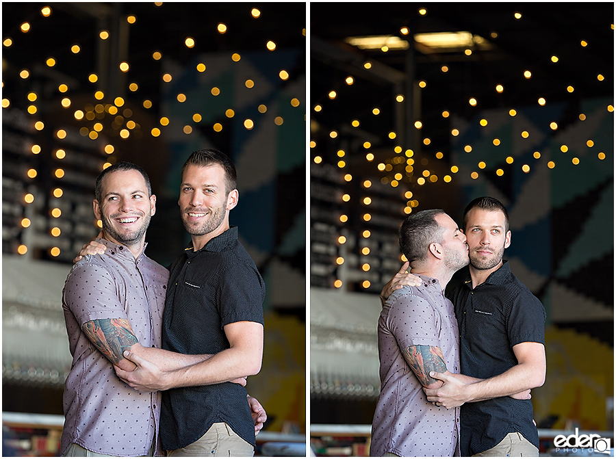 Engagement session with two guys in a San Diego brewery.