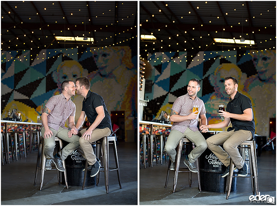 Engagement session with two guys in craft beer brewery.