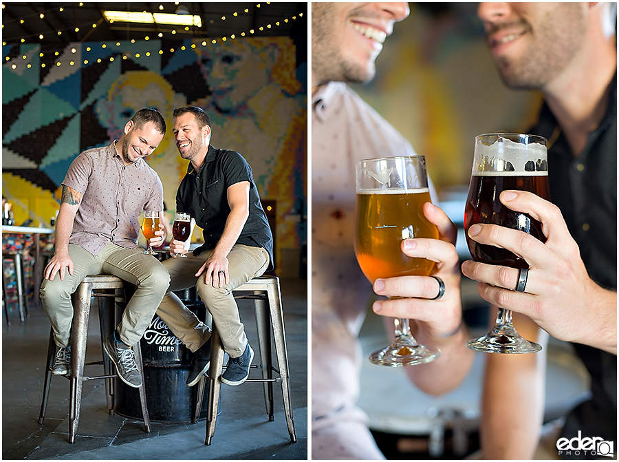 Craft beer engagement session photos.