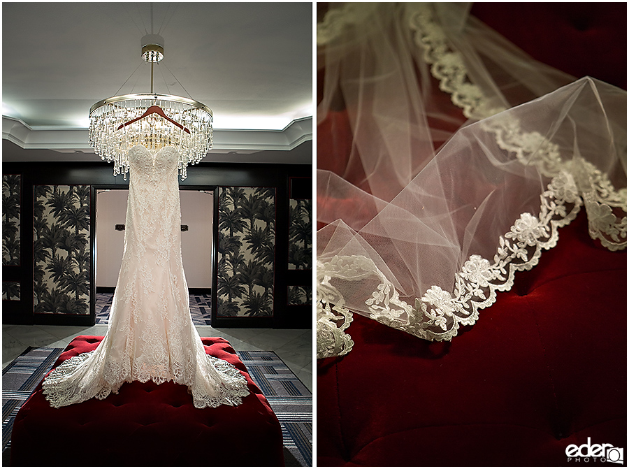 Wedding dress hanging from chandelier at The US GRANT